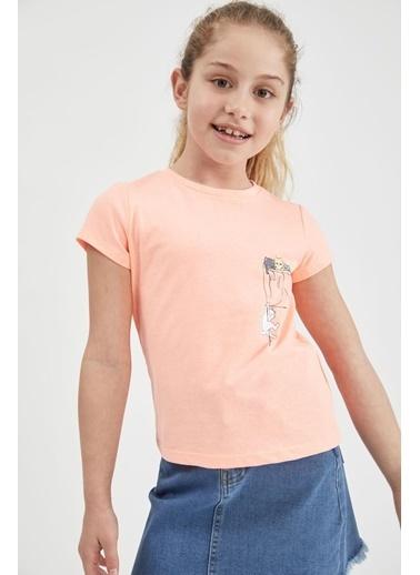 DeFacto Kız Çocuk Panda Baskılı Kısa Kol Tişört Pembe